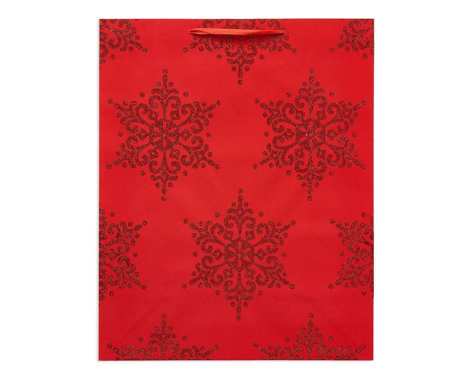 large red snowflakes christmas gift bag