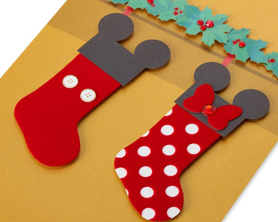 Mickey and Minnie Mouse Stockings Christmas Greeting Card