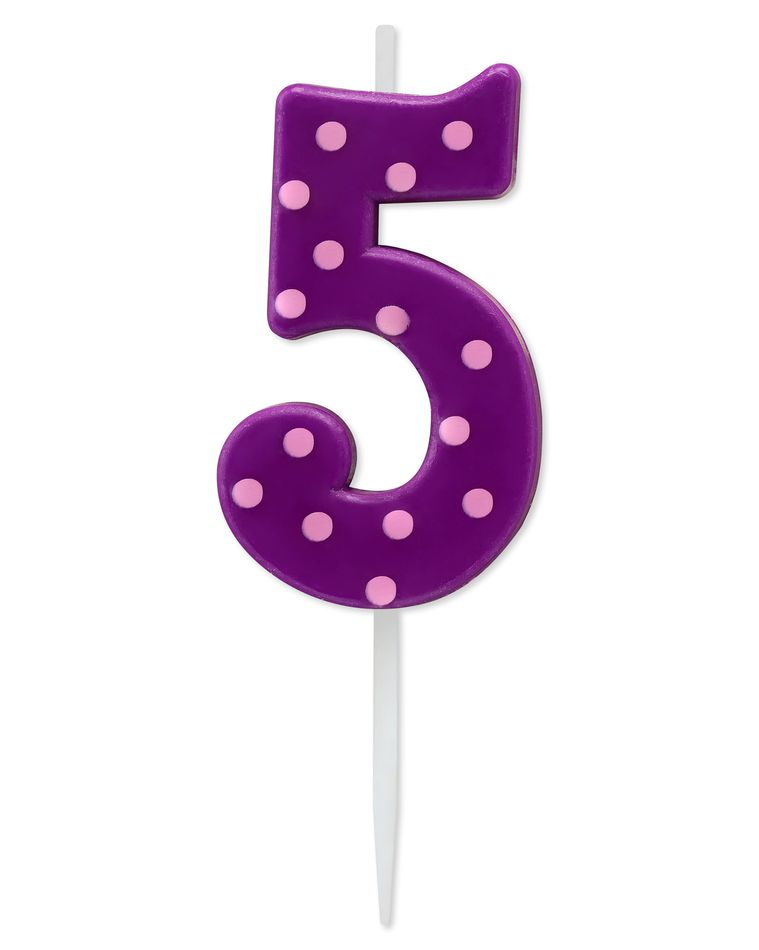 Purple Polka Dots Number 5 Birthday Candle, 1-Count