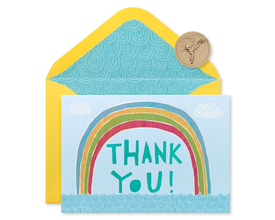 Rainbow Thank You Boxed Blank Note Cards and Envelopes, 12-Count
