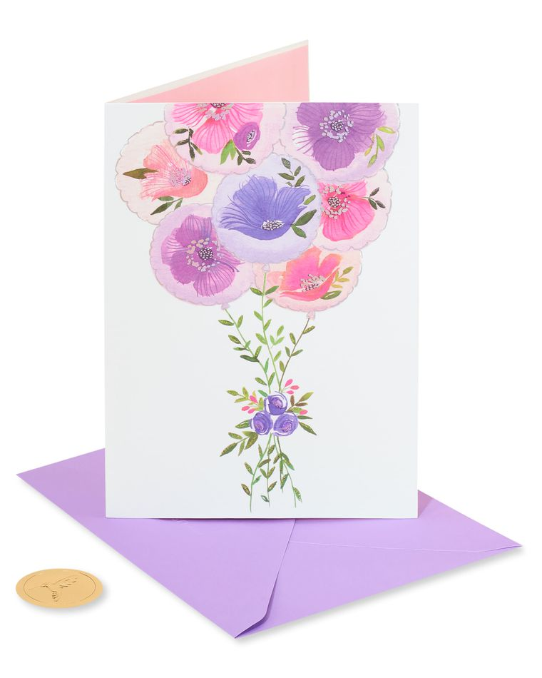 Painterly Balloons Birthday Greeting Card