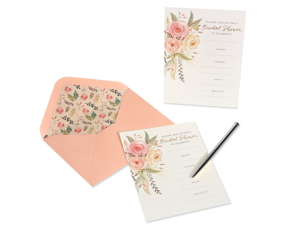 Floral Blank Note Cards with Envelopes, Floral, 20-Count