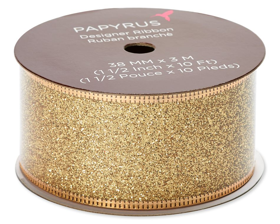 Gold Glitter Holiday Ribbon