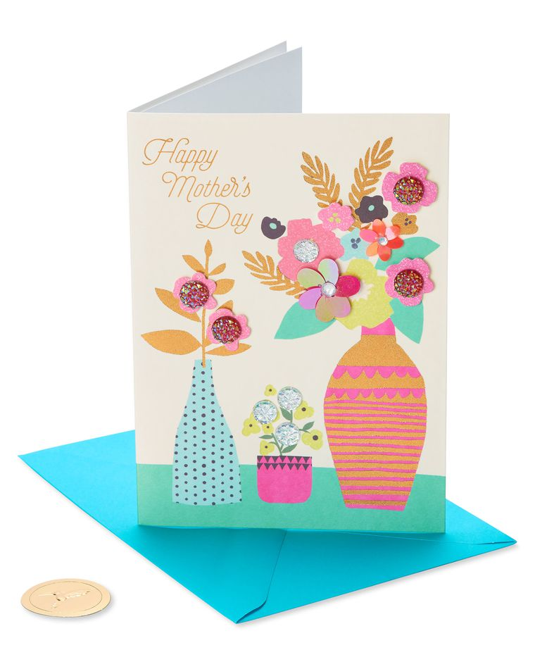 Flowers and Vase Mother's Day Card