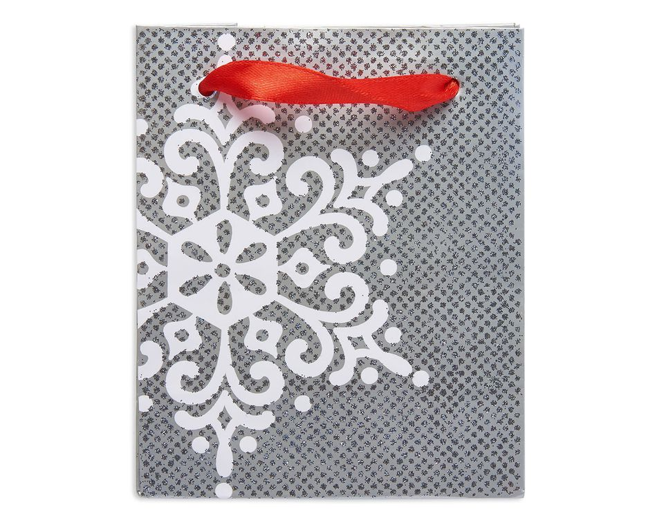 mini silver snowflake christmas gift bag