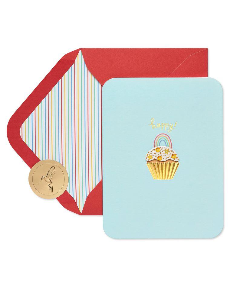 Rainbow Cupcake Birthday Greeting Card