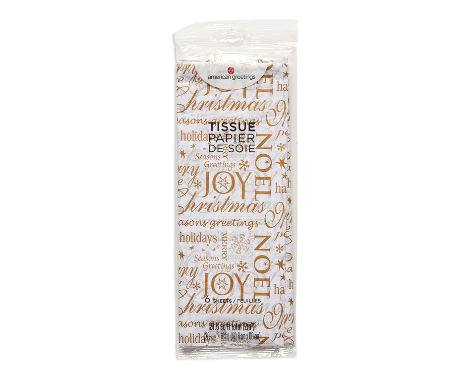 gold christmas lettering tissue paper 6 sheets