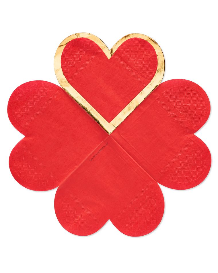 Valentine's Day Heart Beverage Napkins, 20-Count