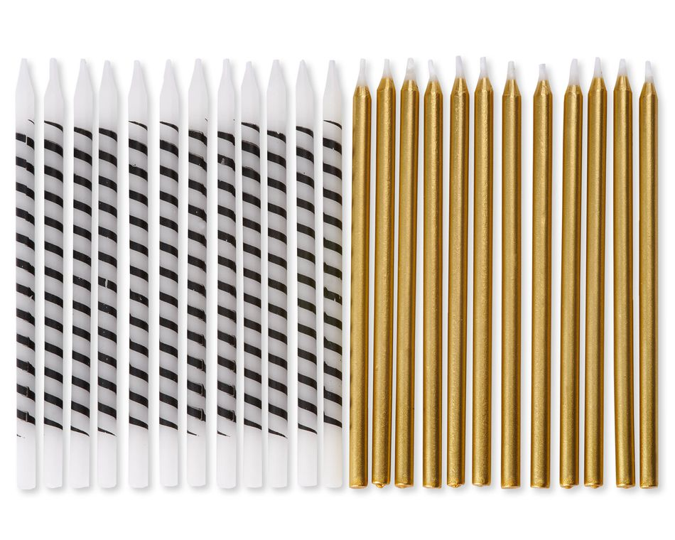 White and Black Stripe and Gold Birthday Candles, 24-Count
