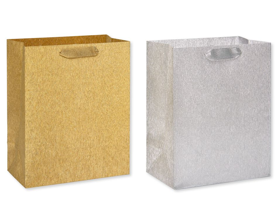 Brushed Metallic Silver and Gold Gift Bags Holiday Large Gift Bag and Tissue Paper Set