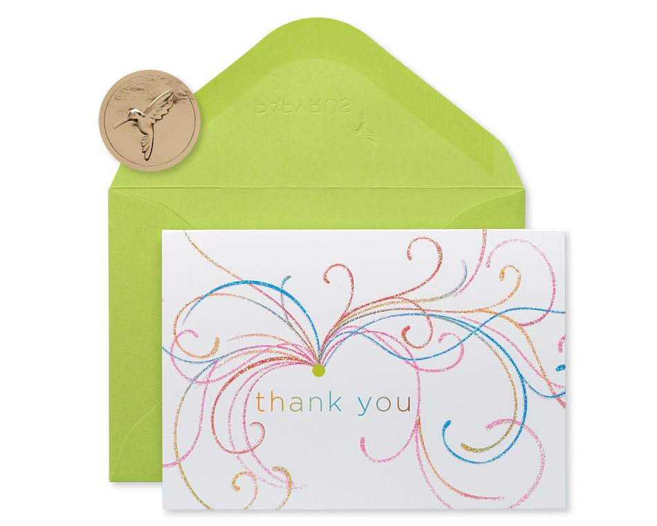 Swirl Thank You Boxed Blank Note Cards with Glitter, 14-Count