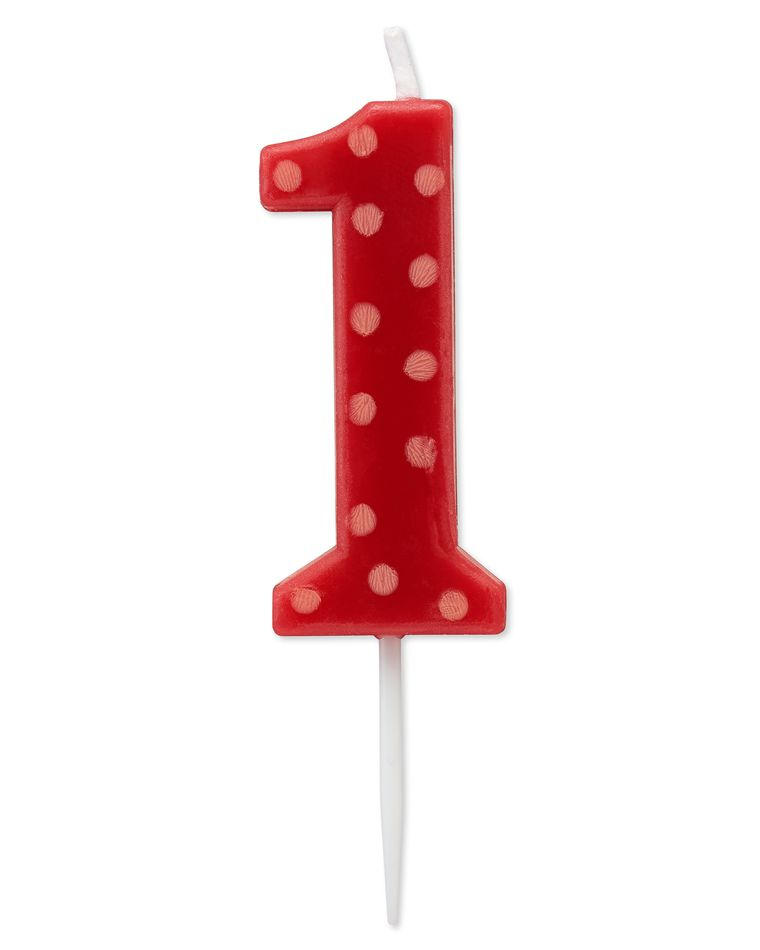 Red Polka Dots Number 1 Birthday Candle, 1-Count