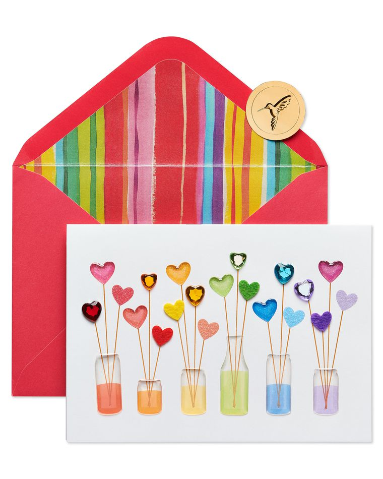 Rainbow Hearts Valentine's Day Greeting Card