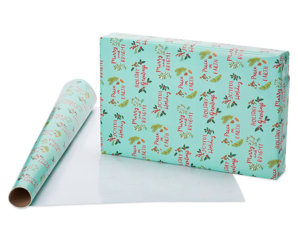 Holiday Friends, Santa Toss and Peace on Earth Print Christmas Wrapping Paper, 3-Roll