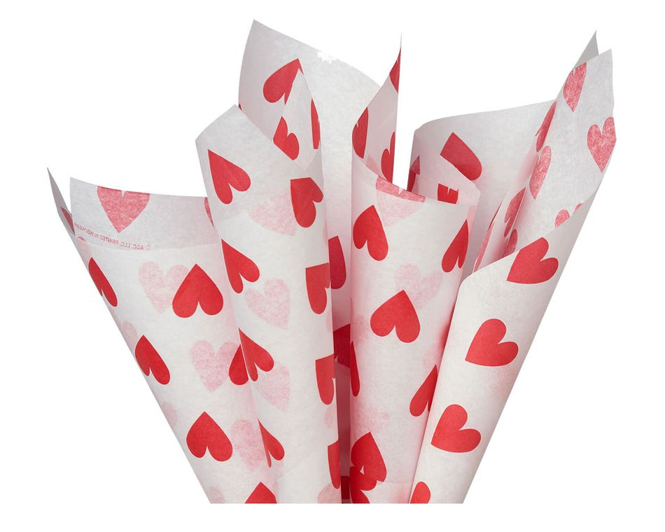 White Tissue Paper with Red Hearts, 6 Sheets
