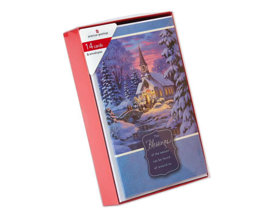 Church in a Snowy Village Christmas Boxed Cards, 14 Count