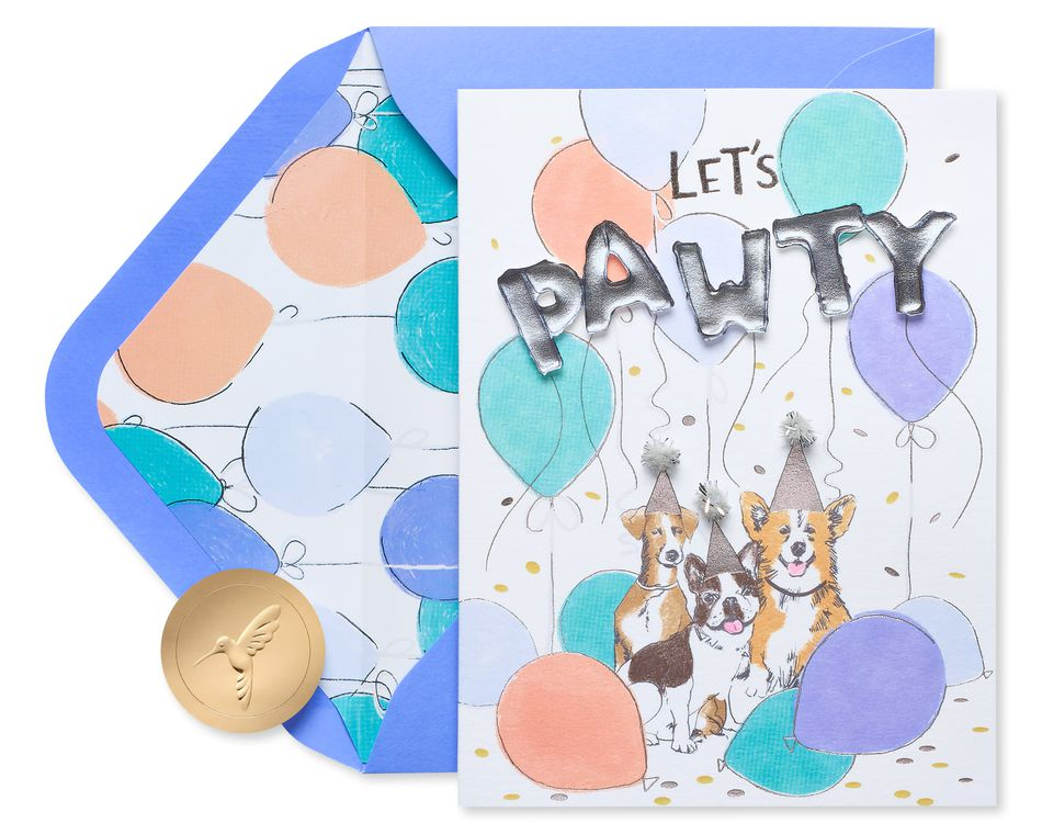 Let's Pawty Dog Birthday Greeting Card