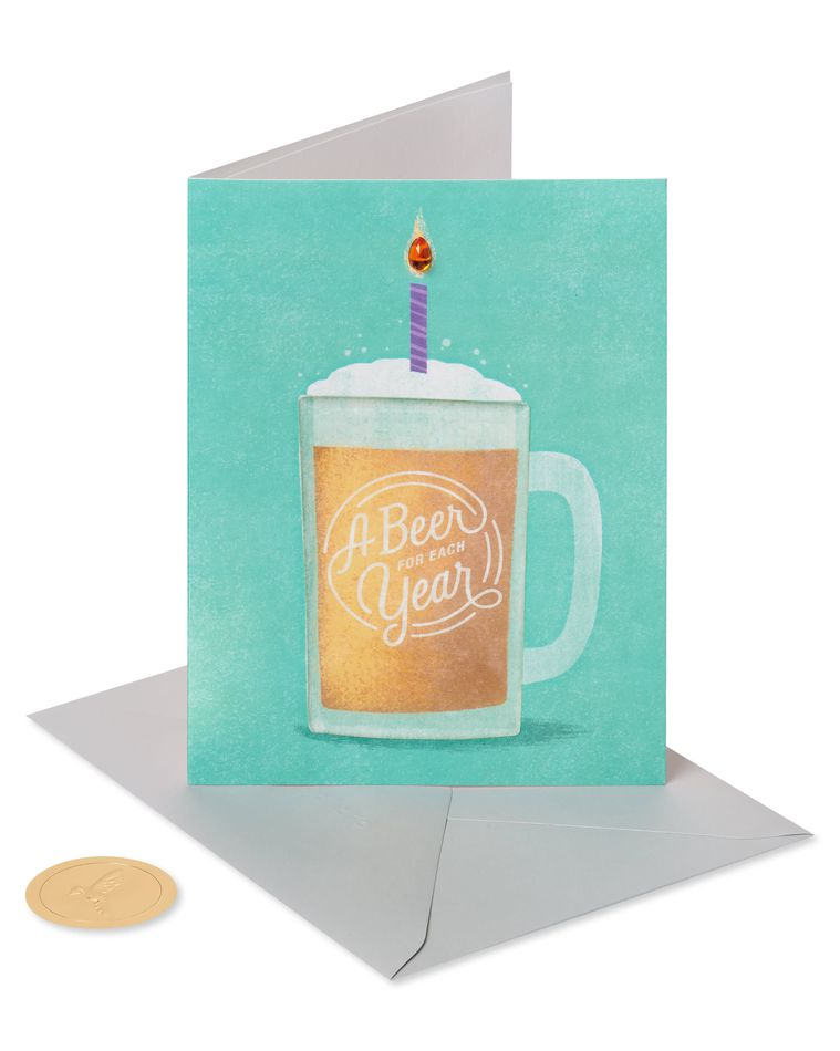 A Beer for Each Year Funny Birthday Greeting Card
