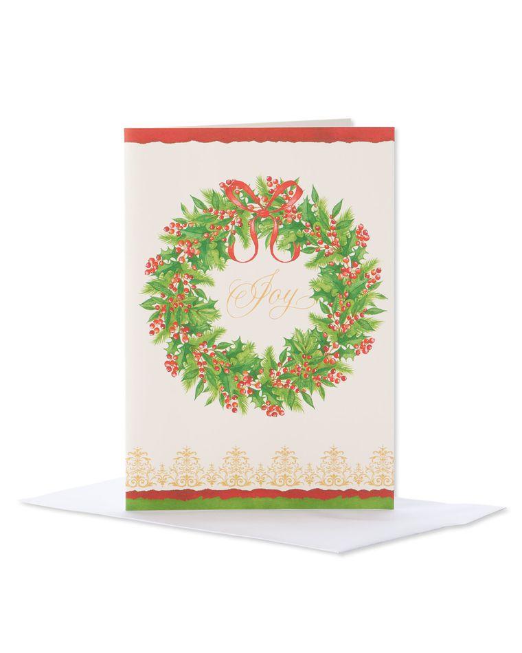Joy Wreath Christmas Boxed Cards, 14 Count