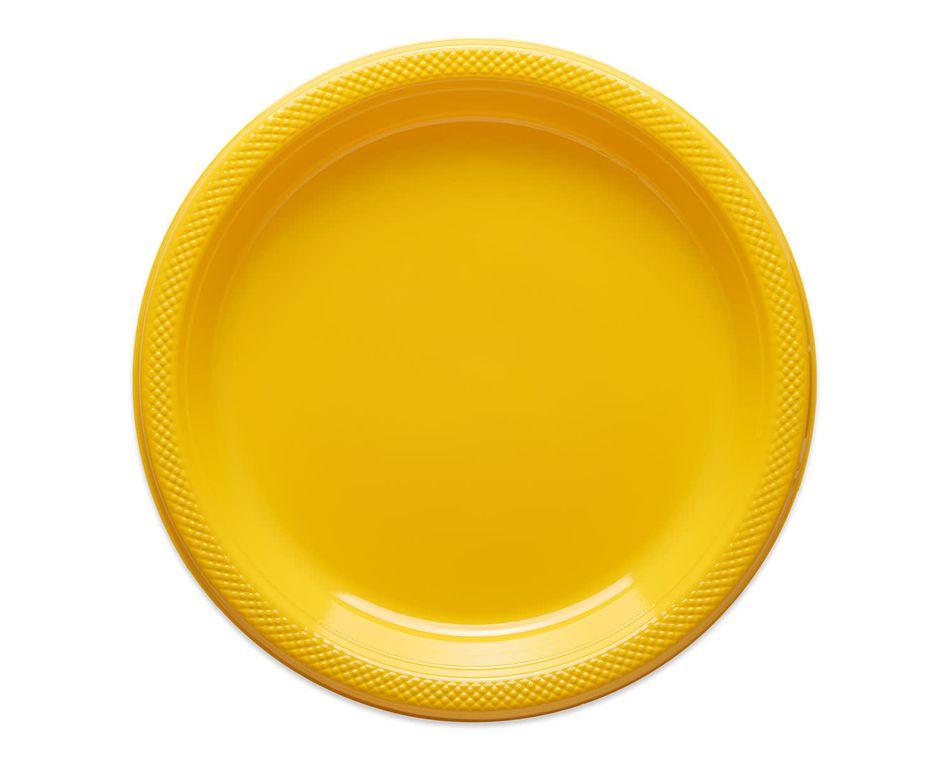 yellow plastic dinner plates 20 ct