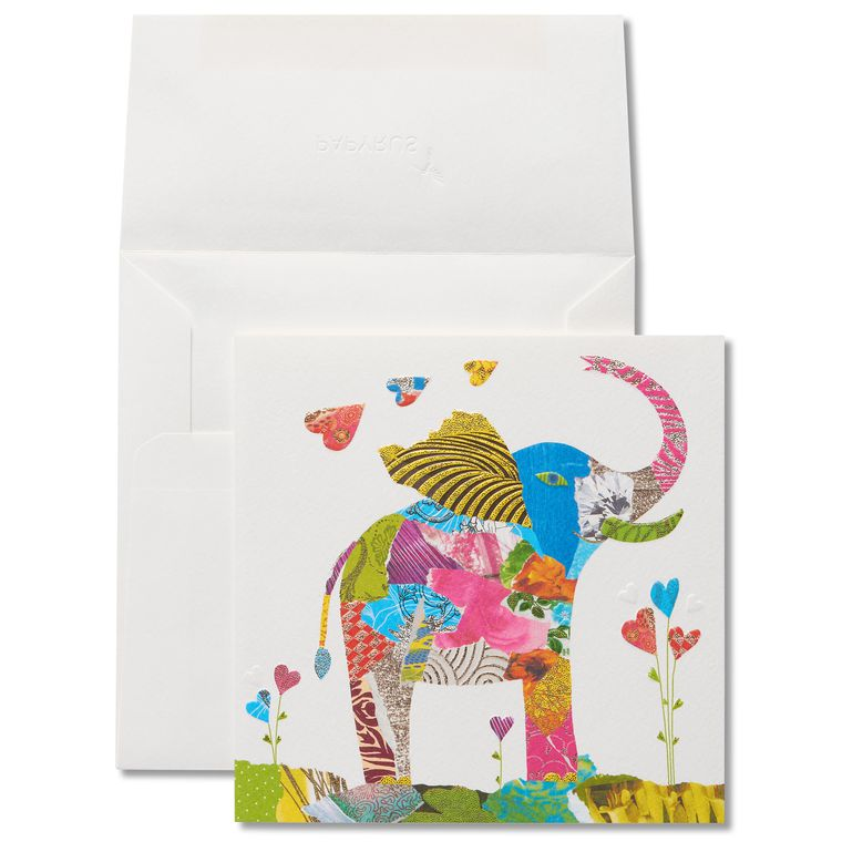 Collage Elephant Birthday Greeting Card