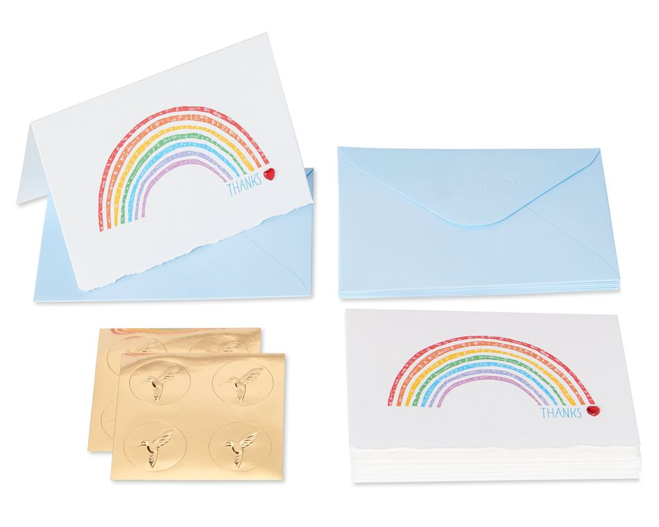 Rainbow Boxed Thank You Cards and Envelopes, 20-Count