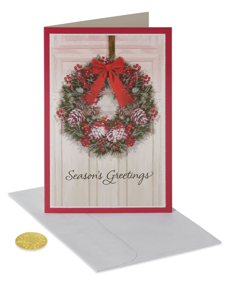 Premium City Traditional Wreath Christmas Boxed Cards and Red Foil-Lined White Envelopes, 14-Count