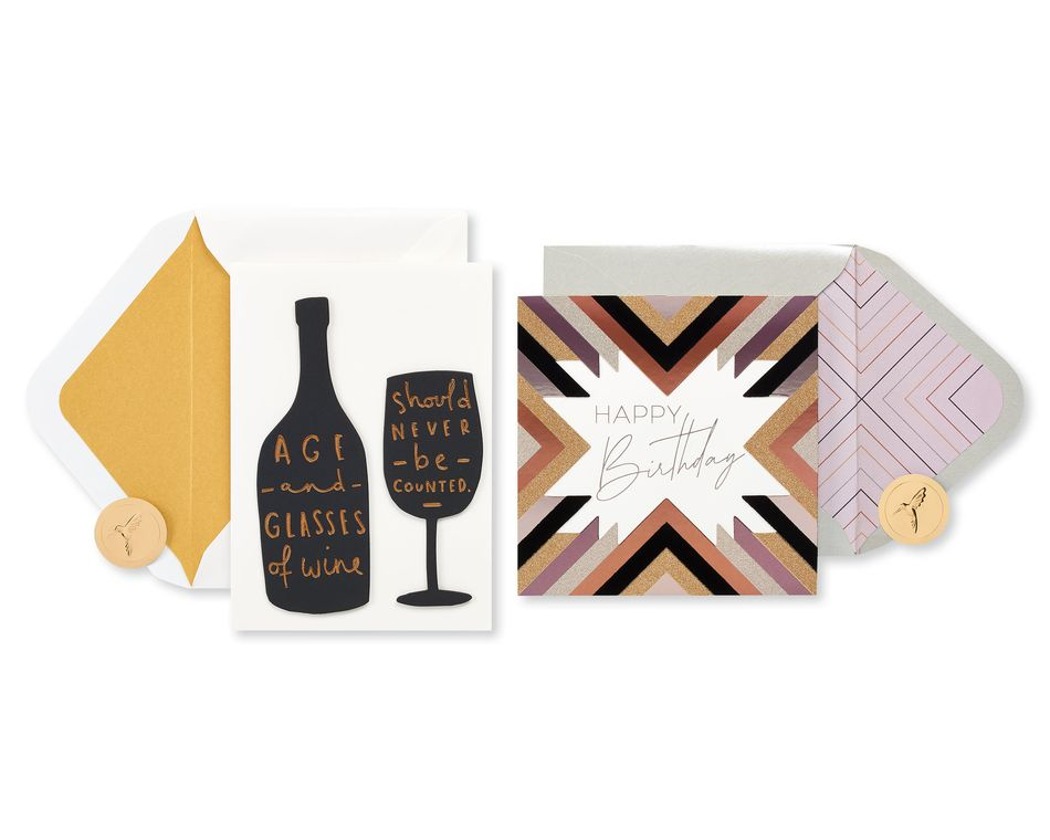 Black and Gold Birthday Greeting Card Bundle, 2-Count