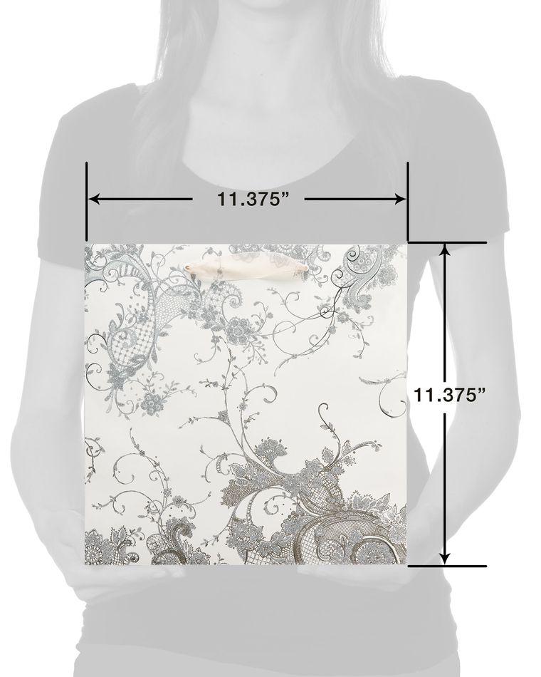 Vintage Lace Large Wedding Gift Bag with Tissue Paper Bundle, 1 Bag, 4-Sheets