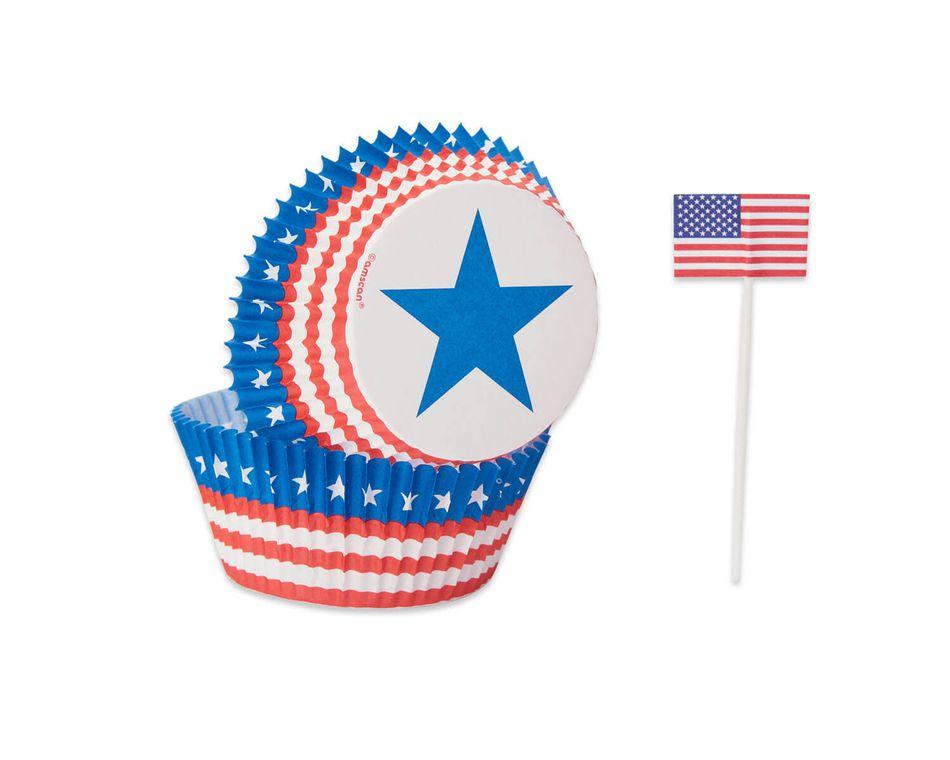 Patriotic Cupcake Cases and Picks, 24-Count