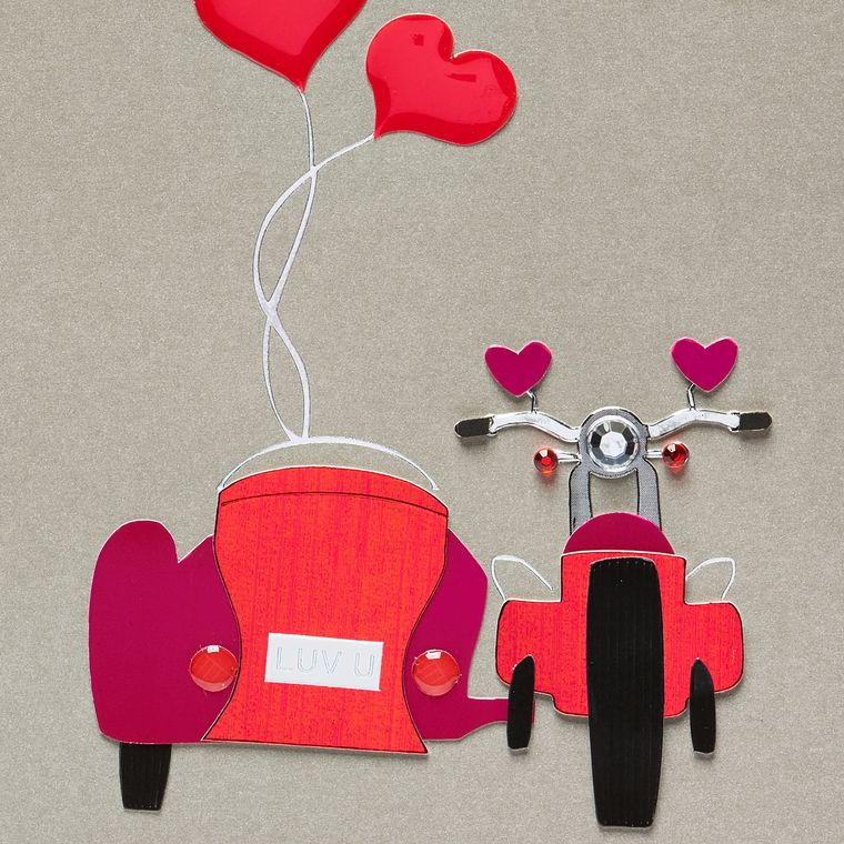 Motorcycle with Side Car Valentine's Day Greeting Card