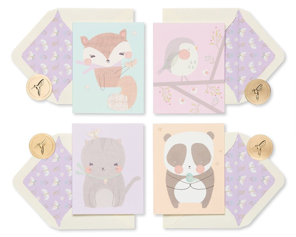 Playful Critters Boxed Blank Note Cards, 20-Count