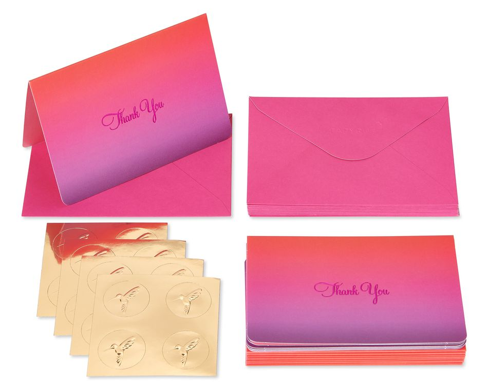 Red Ombre Boxed Thank You Cards and Envelopes, 16-Count