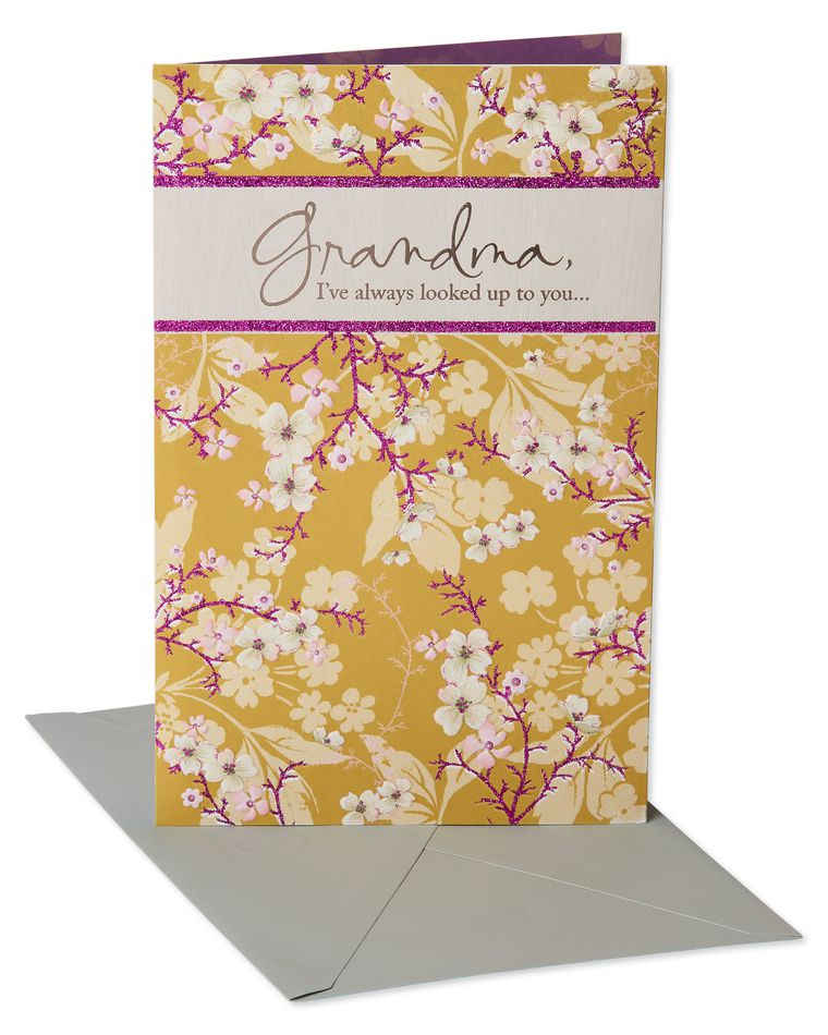 Yellow Floral Mother's Day Card for Grandma