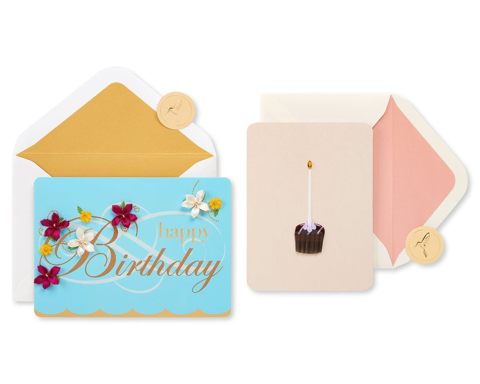 Flowers and Dessert Birthday Greeting Card Bundle for Her, 2-Count