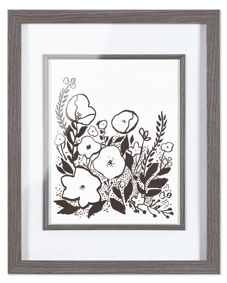 Black and White Flowers Frameable Art Print, 8 in. x 10 in.