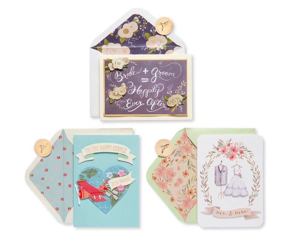 Fashionable Wedding Greeting Card Bundle, 3-Count