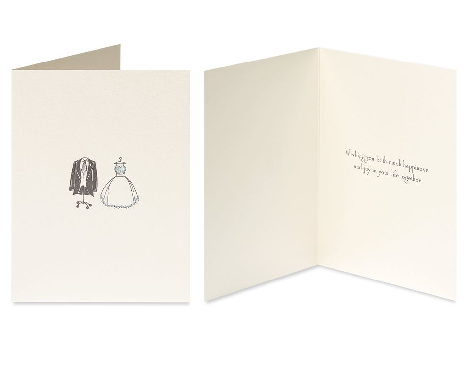 Outfits and Champagne Wedding Greeting Card Bundle, 2-Count