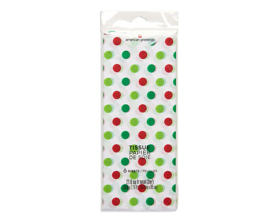 red and green dots christmas tissue paper 6 sheets