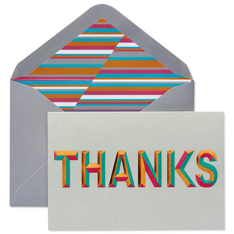 Beveled Thanks Thank You Boxed Blank Note Cards with Envelopes, 16-Count
