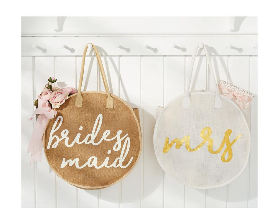 Mud Pie Bridesmaid Jute Round Tote