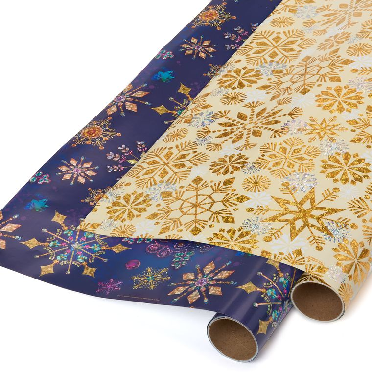 Jewel Tone Snowflakes and Holographic Snowflakes Christmas Wrapping Paper, 2-Roll