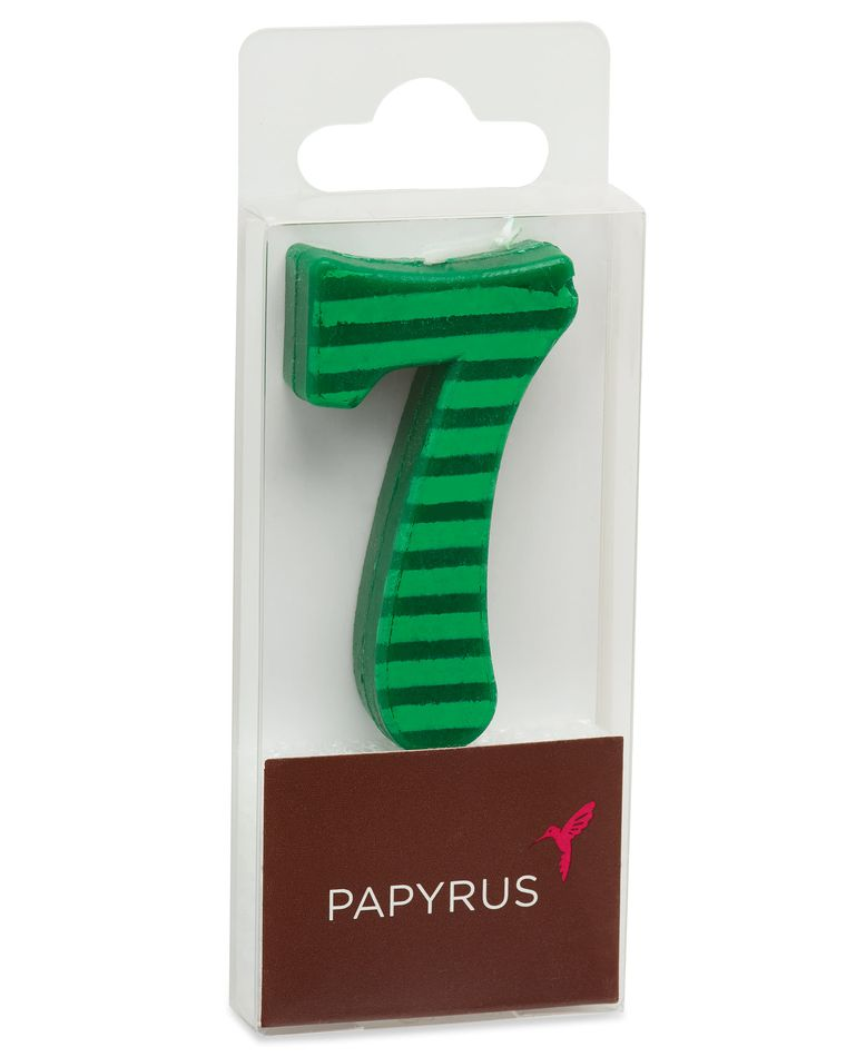 Green Stripes Number 7 Birthday Candle, 1-Count