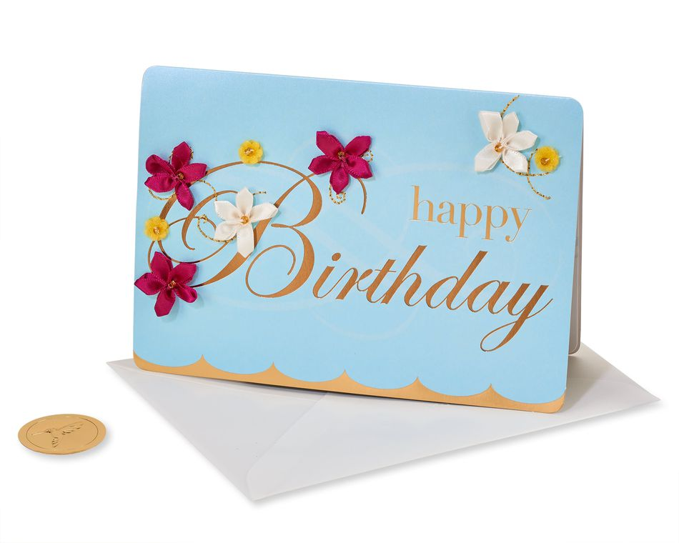 Embroidered Flower Lettering Birthday Greeting Card