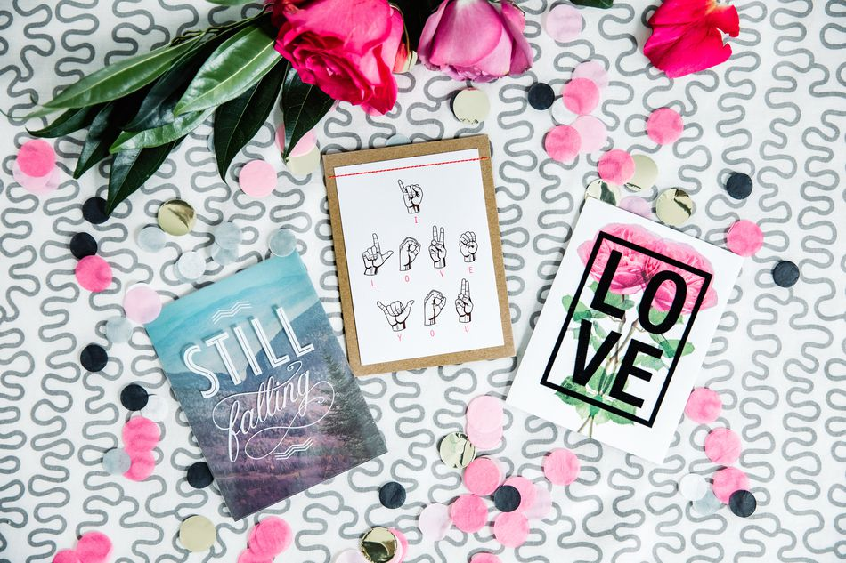 Floral Love Anniversary Card Lifestyle Image