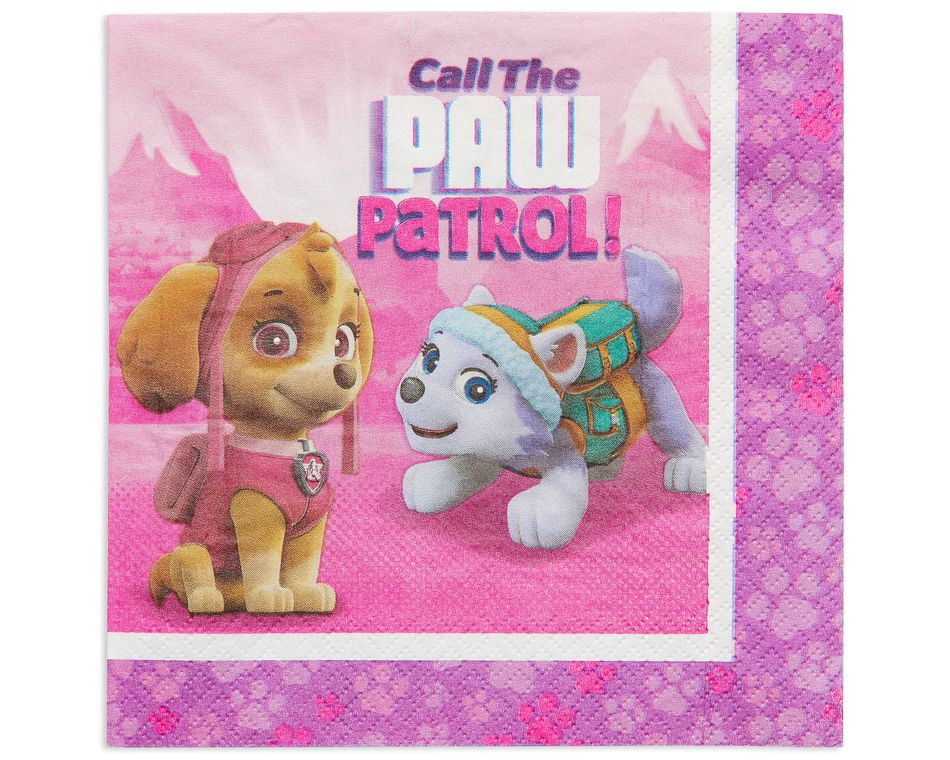 paw patrol pink lunch napkin 16 ct