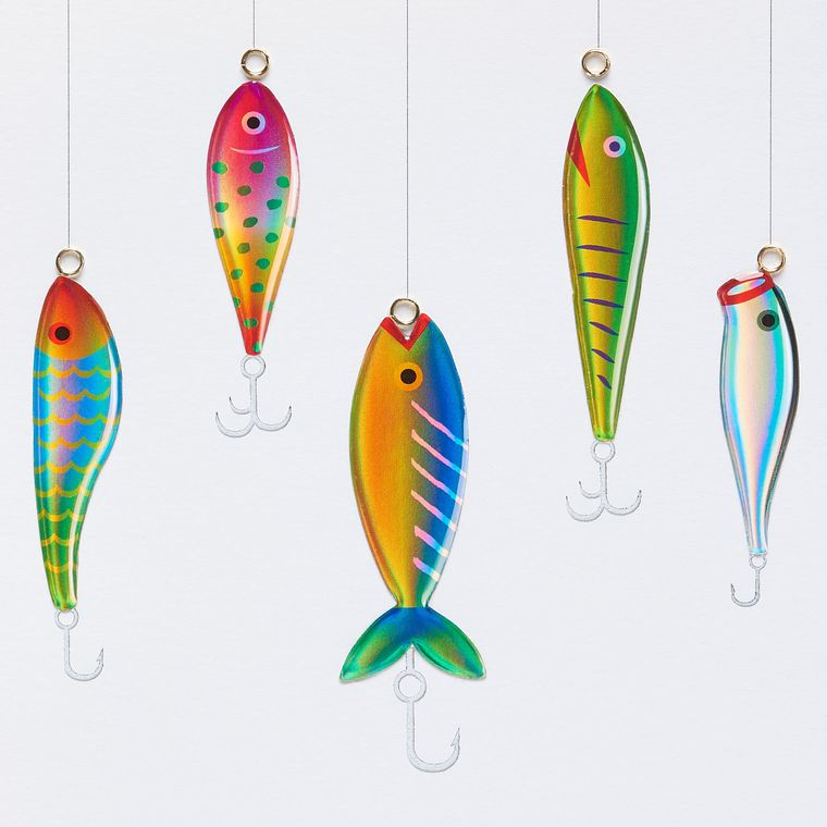 Fish on Hooks Birthday Greeting Card