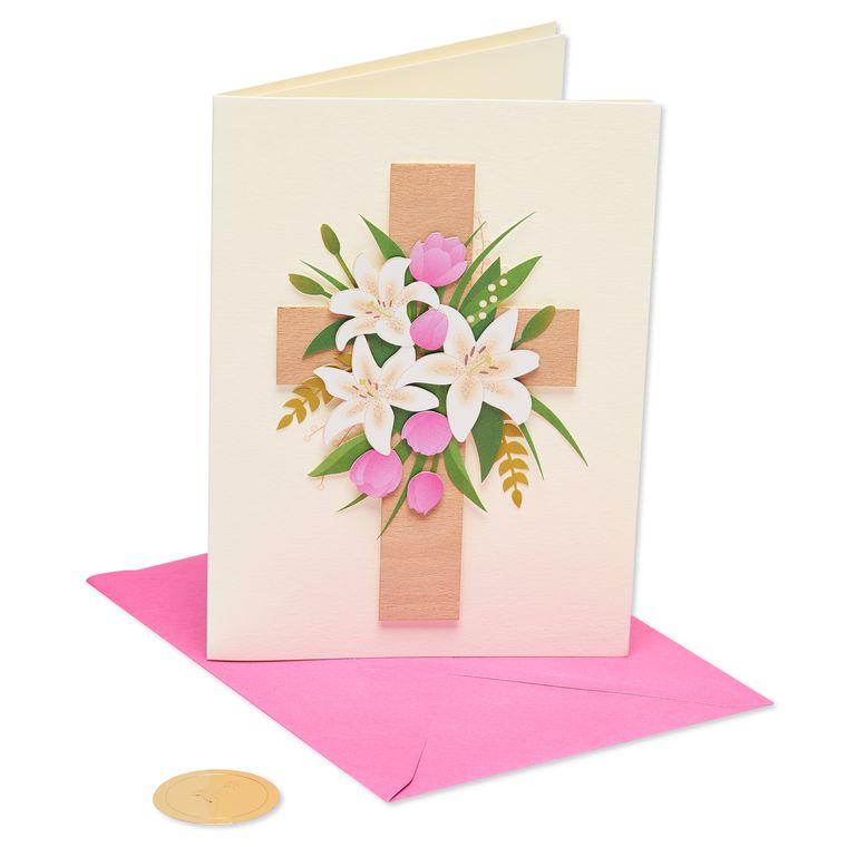 Wood Cross Easter Greeting Card