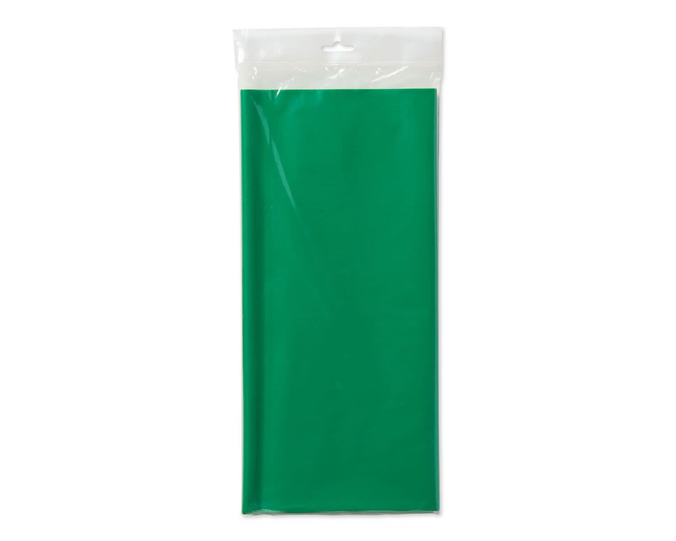 festive green plastic table cover 54in x 108in