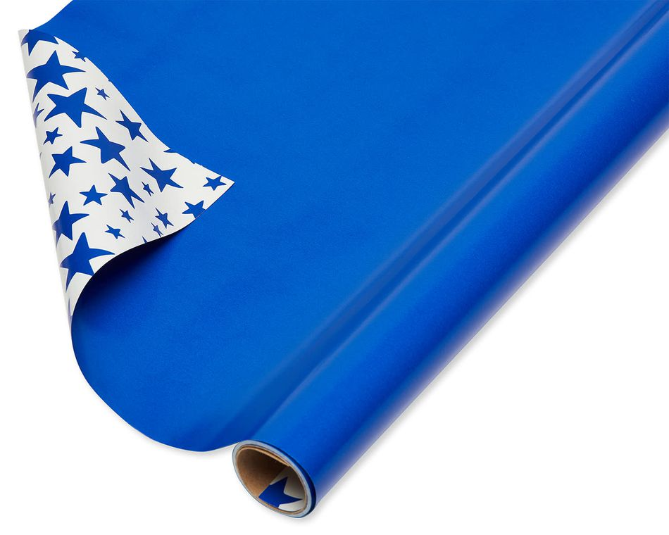 Blue Stars Reversible Wrapping Paper, 30 Total Sq. Ft.